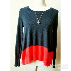 Victoria's Secret Color Block Sweater Red/Grey XS